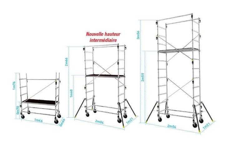 Dimensions Echafaudage Aluminium Quad'UP Evolution