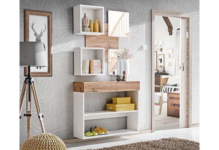 Ensemble meuble mural en bois étagères murale et miroirs ASM Easy IV