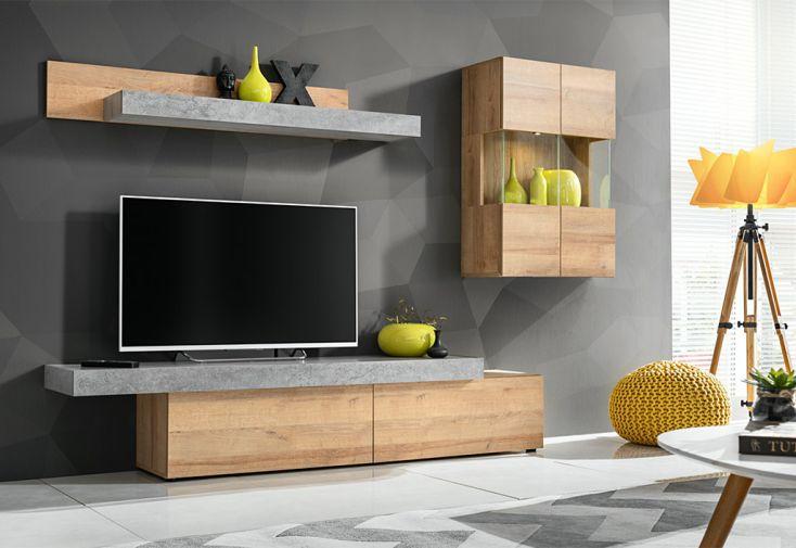 meuble tv en bois marron et gris effet béton Concret ASM