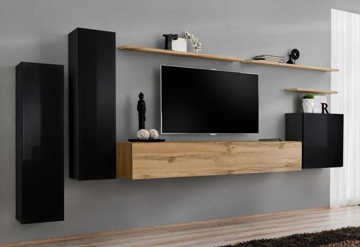 Ensemble meuble TV mural et placards en bois ASM Switch