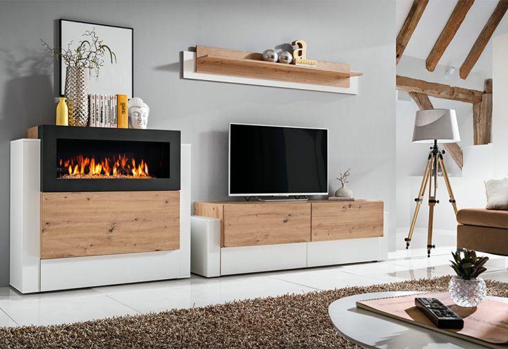 meuble tv en bois clair et blanc + cheminée bioéthanol