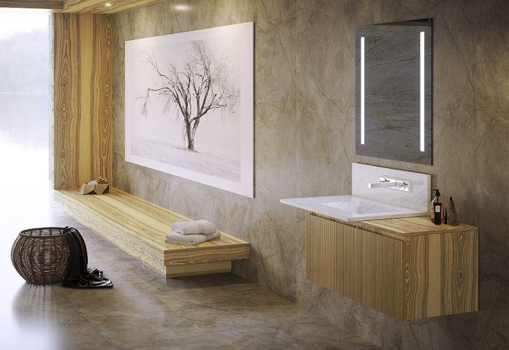 Ensemble de meubles de salle de bain en bois de frêne et marbre blanc