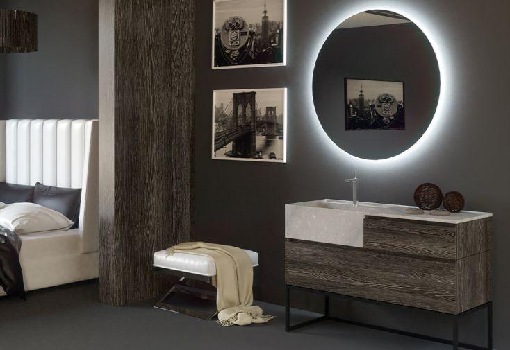 Ensemble de meubles de salle de bain en bois de chêne et marbre