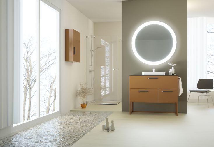 Ensemble de meubles de salle de bain en métal laqué couleur cuivre