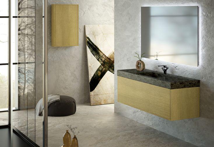 Ensemble de salle de bain en bois de chêne et marbre