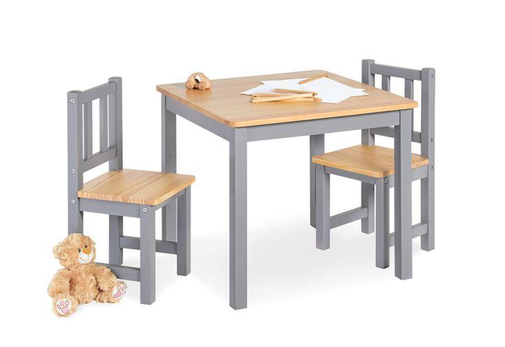 ensemble en bois pour chambre d'enfants gris et bois