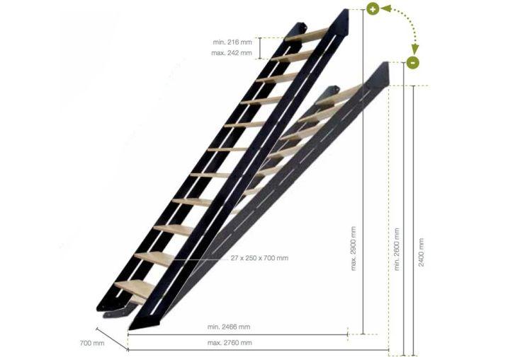 Escalier Droit Bois et Acier Adapt