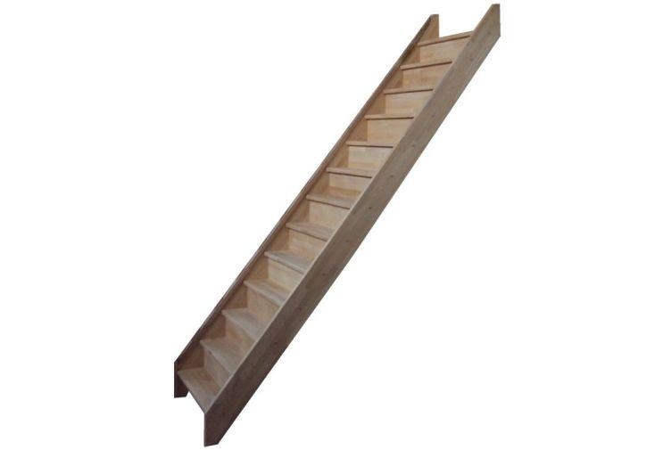 Escalier en bois de hêtre avec contremarches 280 cm