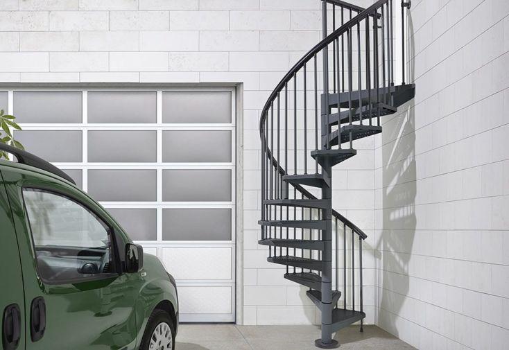 Escalier extérieur en colimaçon en acier galvanisé gris anthracite