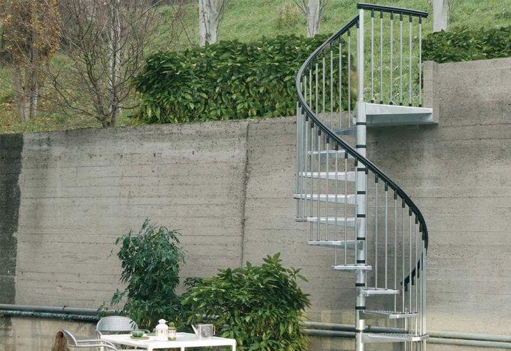 Escalier extérieur en colimaçon acier galvanisé 120, 140 ou 160 cm