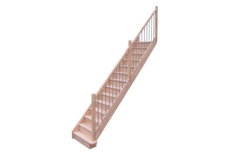 escalier droit en h tre lamelle coll duo levigne. Black Bedroom Furniture Sets. Home Design Ideas