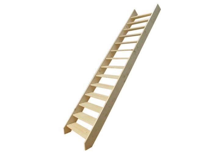 escalier droit en bois réglable en hauteur 220 - 300 cm 14 marches