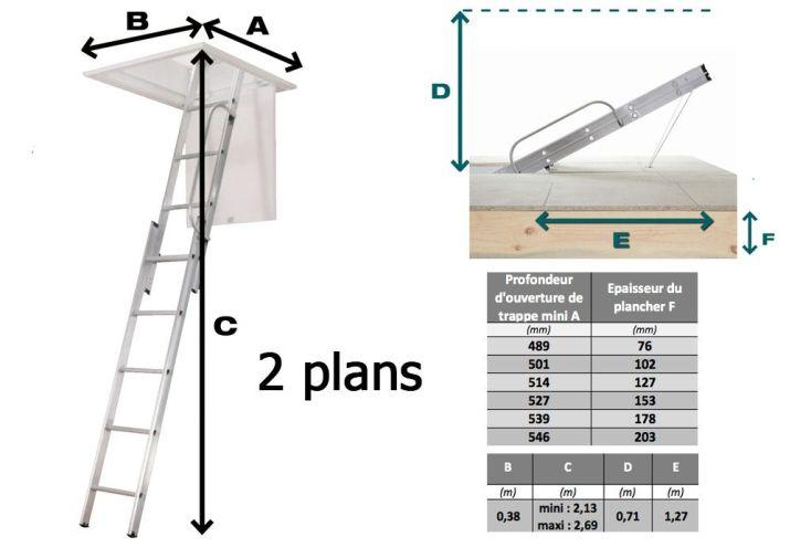 escalier escamotable professionnel 2 plans et 3 plans clic. Black Bedroom Furniture Sets. Home Design Ideas