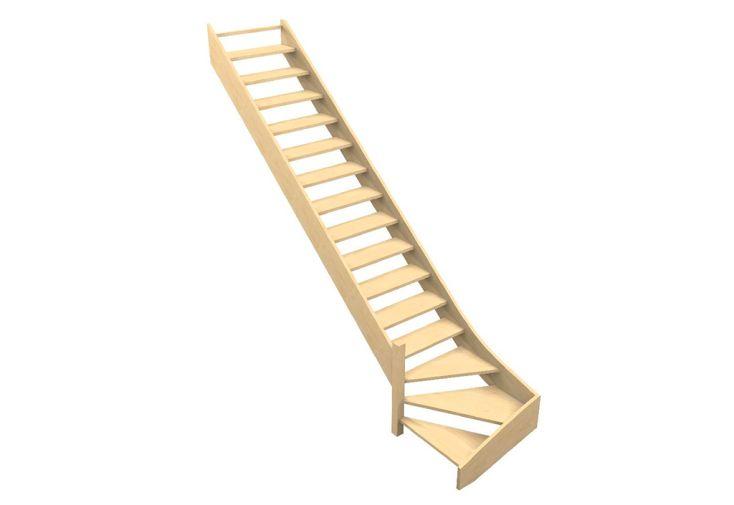 Escalier quart tournant bas en bois de sapin, hêtre ou chêne