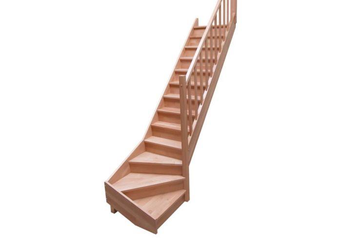 Escalier Quart Tournant Bas en Hêtre