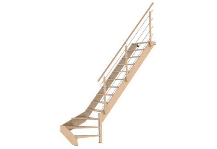 Escalier 1/4 tournant bas à droite en bois de hêtre brut 290 cm avec garde-corps métal et bois