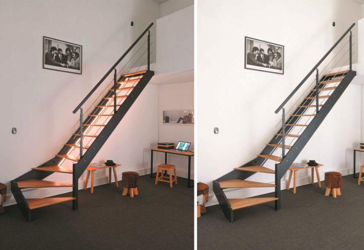 Escalier Quart Tournant Droit En Bois 290 Cm Led Rampe Alu Spark
