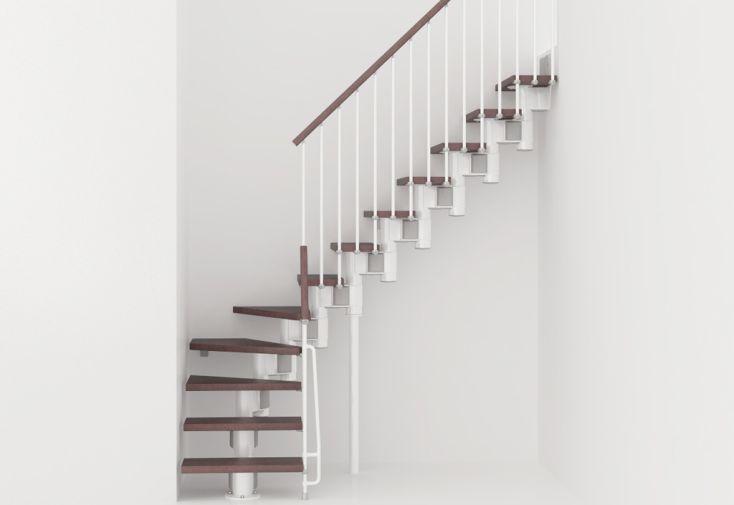 Escalier modulaire quart-tournant acier blanc