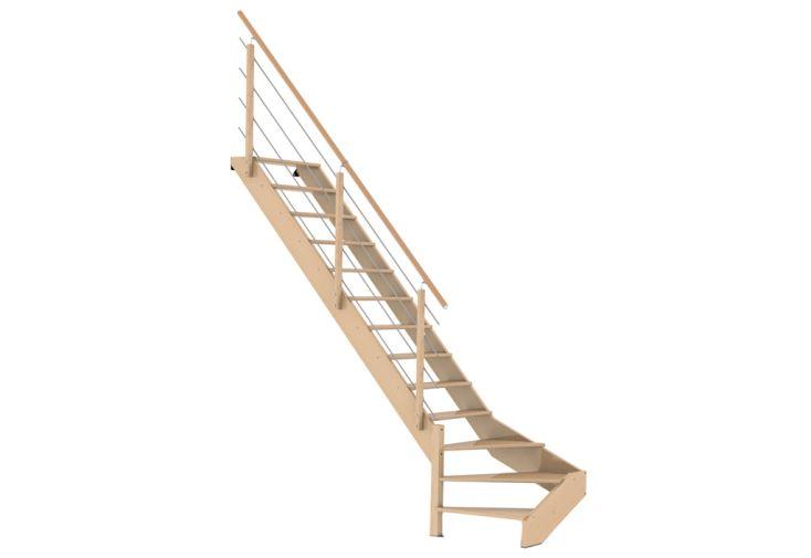 Escalier 1/4 tournant bas à gauche en bois Burger avec garde-corps en bois et inox
