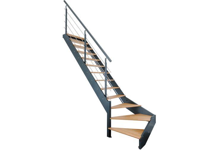 Escalier quart tournant en bois avec garde-corps métal et LED incluses