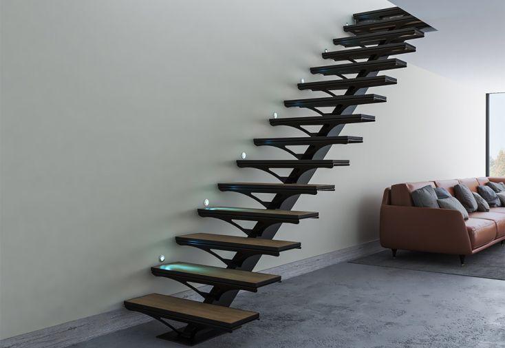 Escalier sur mesure en métal avec limon central carré