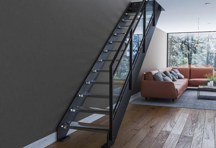 Escalier sur mesure en métal et en verre avec garde-corps