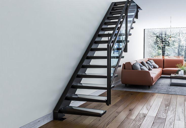 escalier suspendu avec limon latéral sur mesure en métal