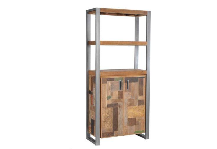 Etagère 3 tablettes 2 portes en Teck (90x40x200cm)