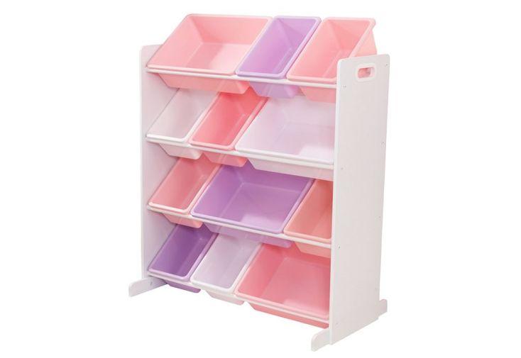 étagère de rangement à casiers amovibles pastel et blanc