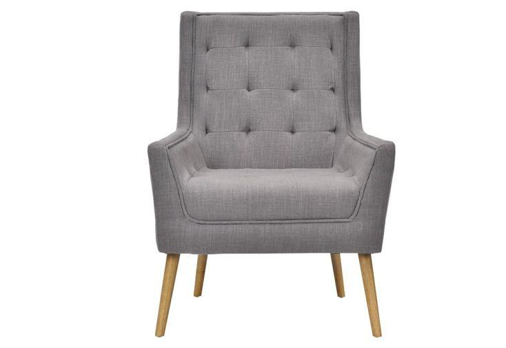 fauteuil scandinave gris clair en lin et en bois
