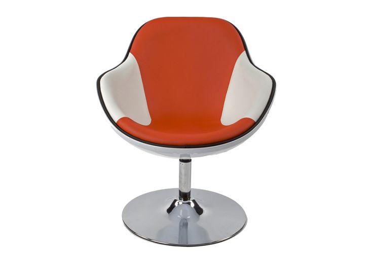 Fauteuil Lounge Kokoon Design Daytona Blanc et Rouge Vue de Face