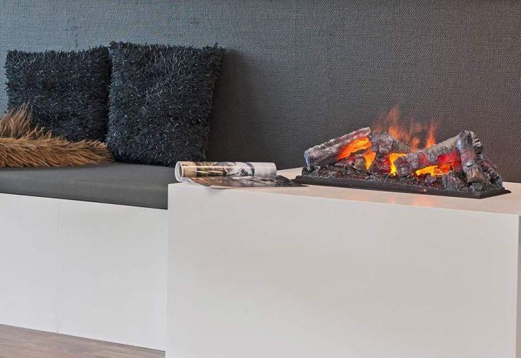 foyer électrique en métal avec bûches et feu décoratifs vraies flammes