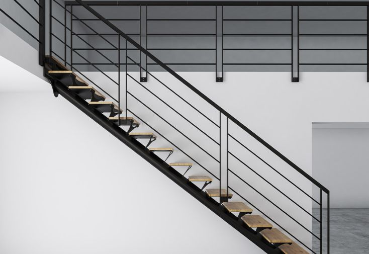 Garde-corps 4 lisses en métal pour escalier sur mesure