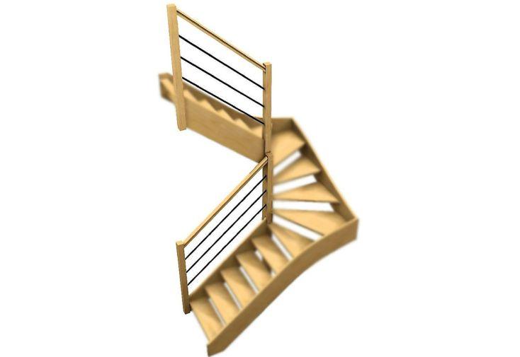 Rampe 3 lisses en bois et en métal pour escalier double quart tournant