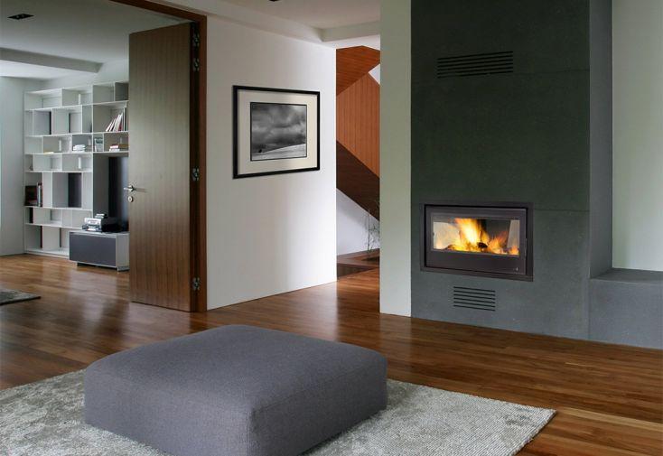 insert à bois en acier à deux portes vitrées pour cheminée