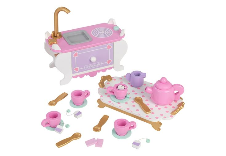 Kit d'accessoires pour maison de poupées thème service à thé