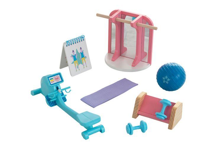 Kit d'accessoires pour maison de poupées thème salle de gym