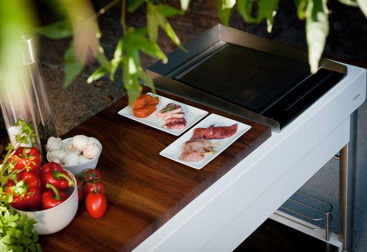 Kitchenette en Bois Massif et Acier Serveboy Superbianco 140x60cm