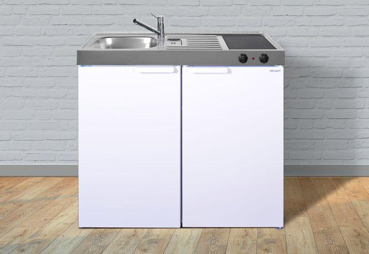 Kitchenette pour studio blanche Stengel avec réfrigérateur et plaques de cuisson