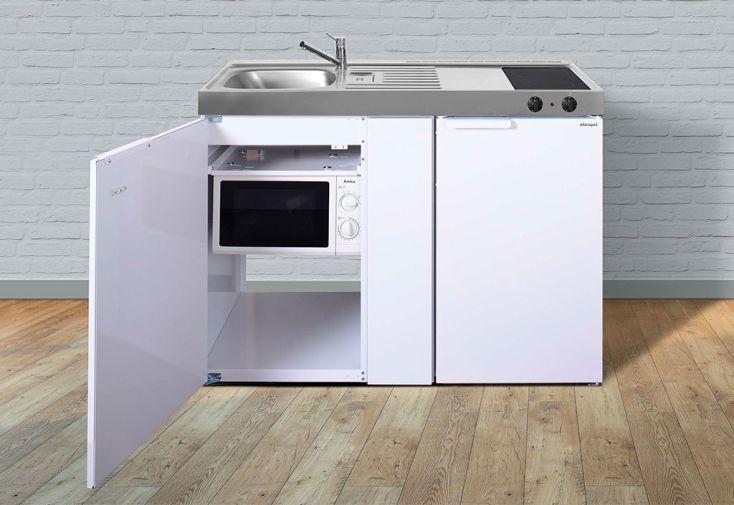 Kitchenette équipée pour studio : réfrigérateur, micro-ondes, plaques vitrocéramiques