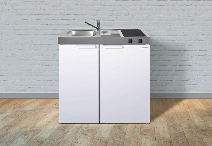 Kitchenette pour studio en métal blanc réfrigérateur et plaque vitrocéramique 90 cm