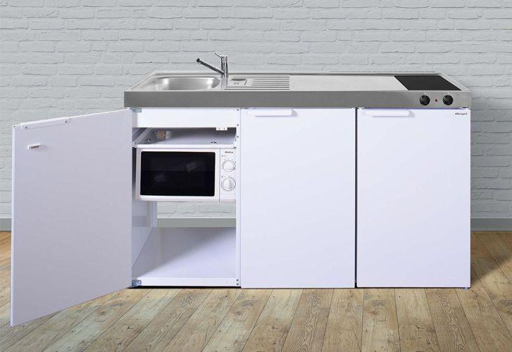 Kitchenette pour studio en métal blanc avec plaque de cuisson, réfrigérateur, évier et micro-ondes