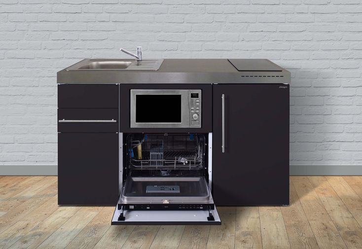 Kitchenette en métal noir Stengel MPGSM150 : micro-onde, frigo, lave-vaisselle, induction