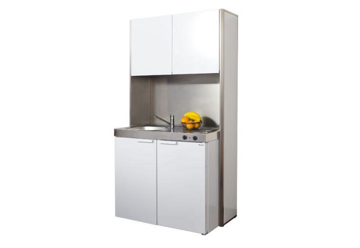 kitchenette mk100 avec frigo et plaque de cuisson vitrocéramique avec meuble haut de rangement