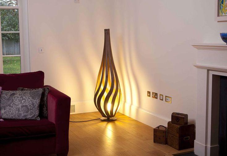 Lampadaire Design en Bois Tulipe