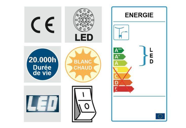 Lampadaire LED avec Variateur et Liseuse Carré