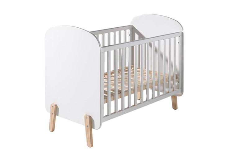 Lit bébé en bois 60 x 120 cm avec barrière Kiddy Vipack