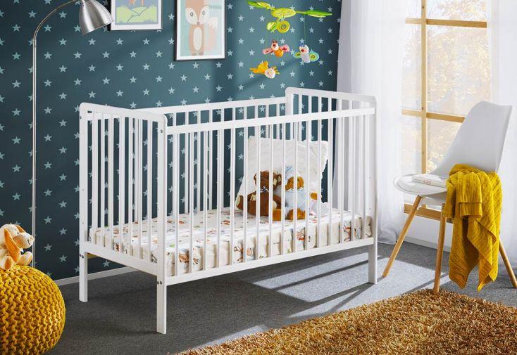 Lit Bébé en Bois avec Matelas ASM Meble Cypi 65 x 124 cm Blanc