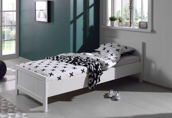 Lit pour enfant 90 x 200 cm en bois blanc avec tête de lit