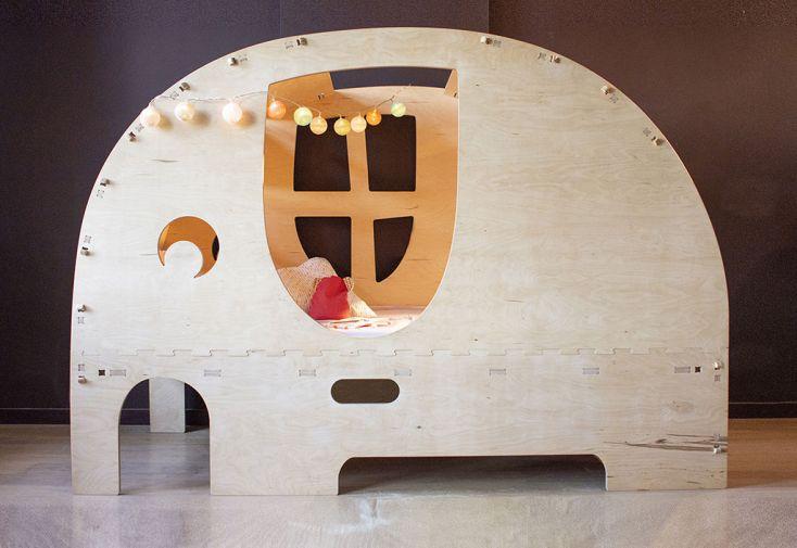 Lit cabane en bois de bouleau Éléphant lit pour enfant